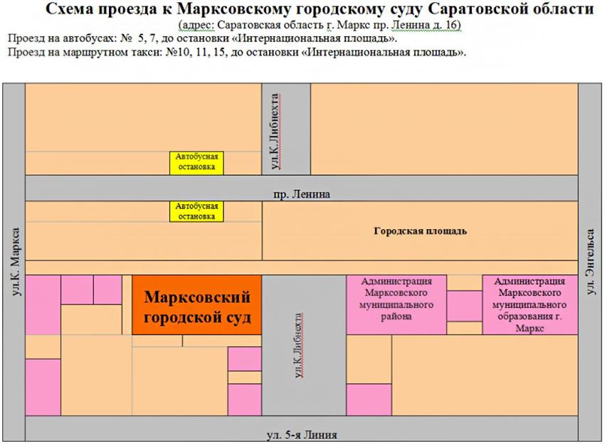 Проезд до Марксовского городского суда Саратовской области